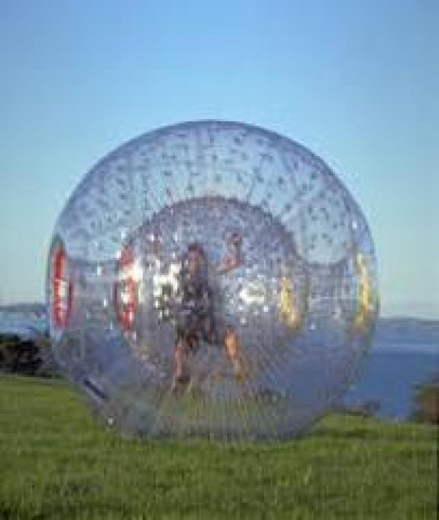Two Zorb Balls with Track & Attendant